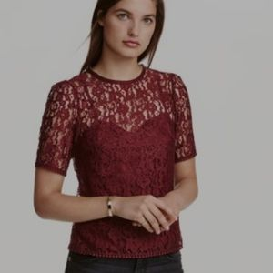 H and M Short Sleeved Lace Red Top size 2